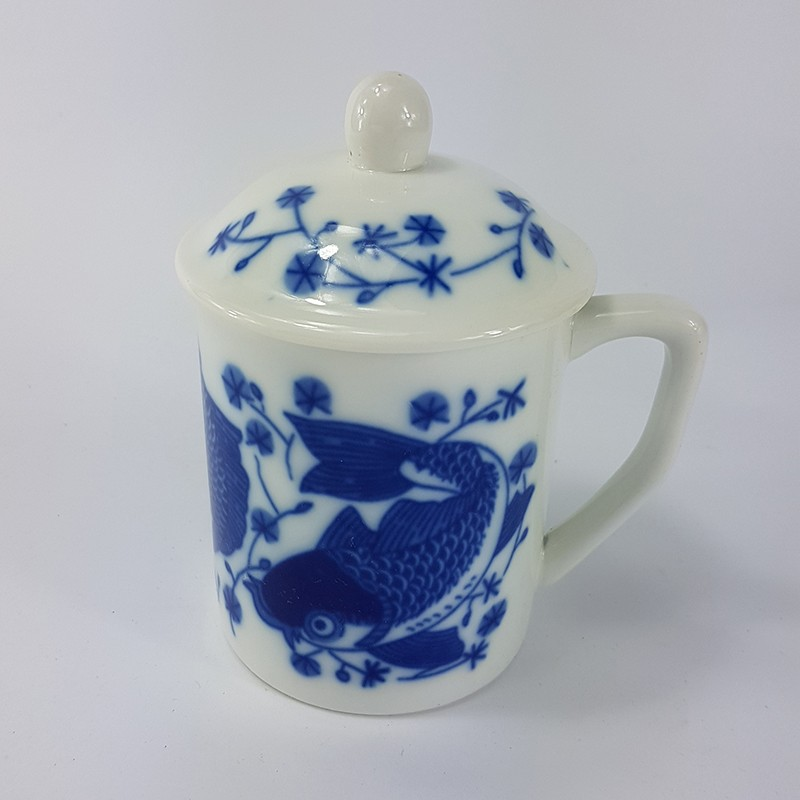 BLUE FISH MUG+LID兰鱼盖杯